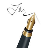 Signing with a fountain pen Royalty Free Stock Images