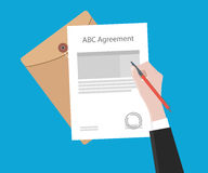 Signing important agreement letter with a pen illustration. Vector Stock Image