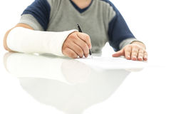 Signing insurance claim Royalty Free Stock Photo