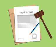 Signing legal services concept illustration with paperworks, pen and a judge hammer vector illustration