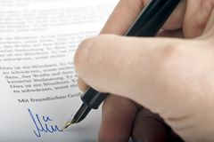 Signing letter Stock Photos