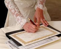 Signing marriage certificate Royalty Free Stock Photo