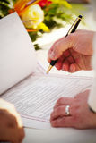 Signing Marriage Certificate stock photography