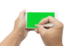 Signing on mobilephone Royalty Free Stock Images