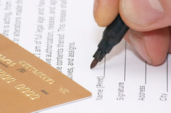 Signing of model release. Close-up Stock Photography