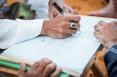 Signing Oath in Arabic Writings Stock Photography