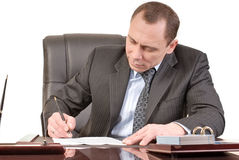 Signing papers. Man has a good mood signature documents Royalty Free Stock Image