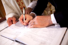 Signing the register royalty free stock photos
