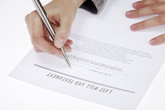 Signing testament Royalty Free Stock Image