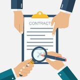Signing of a treaty business contract. Flat design vector illustration. Agreement. Businessman signs a contract. Inspection the legal document. Contract in Royalty Free Stock Photo