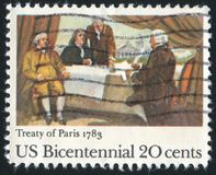Signing of Treaty of Paris. UNITED STATES - CIRCA 1983: stamp printed by United States of America, shows Signing of Treaty of Paris, circa 1983 Stock Photos