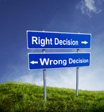 Signle: Decisão direita e errada Foto de Stock Royalty Free