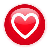 Signle red heart button. On a white background Royalty Free Stock Photos