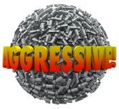 Signo de exclamación agresivo Mark Sphere Bold Action de la palabra 3d Imagen de archivo