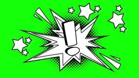 Signo de exclamación animado cómico Pantalla verde ilustración del vector