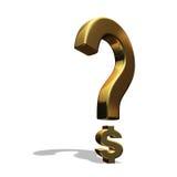 Signo de interrogación con $ como su punto Imagen de archivo libre de regalías