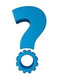 Signo de interrogación de la rueda de engranaje Fotos de archivo libres de regalías