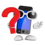 signo de interrogación de 3d Smartphone Foto de archivo