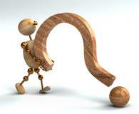 Signo de interrogación de elevación del hombre de madera Fotos de archivo