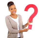 Signo de interrogación de la mujer del Afro Foto de archivo libre de regalías