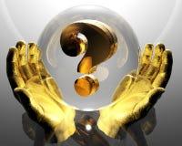 Signo de interrogación de oro en manos ilustración del vector