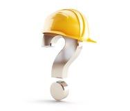 Signo de interrogación del casco de la construcción Foto de archivo