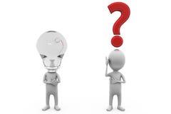 signo de interrogación del hombre 3d y concepto del bulbo Imágenes de archivo libres de regalías