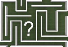 Signo de interrogación en el laberinto Fotografía de archivo libre de regalías