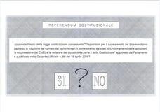 Signo de interrogación en la papeleta electoral italiana Imagen de archivo libre de regalías