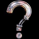 Signo de interrogación mecánico del hierro Fotografía de archivo