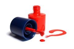 Signo de interrogación rojo del esmalte de uñas Imagen de archivo