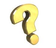 Signo de interrogación, símbolo de la ayuda en el oro (3d) Fotografía de archivo