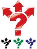 Signo de interrogación, y flechas en tres direcciones. Imagen de archivo