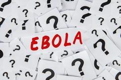 Signo de interrogación y una palabra de Ebola Foto de archivo libre de regalías