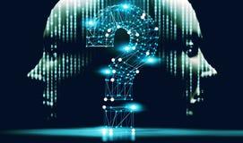 Signo de interrogaci?n y concepto de ciencia y de tecnolog?a Preguntas y respuestas en Internet stock de ilustración