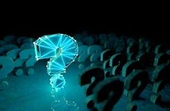 Signo de interrogaci?n y concepto de ciencia y de tecnolog?a Preguntas y respuestas en Internet ilustración del vector