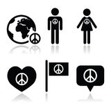 Signo de la paz con los iconos de la gente y del globo fijados Fotografía de archivo