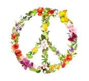 Signo de la paz floral con las flores watercolor Fotos de archivo libres de regalías