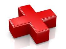 signo más del rojo 3d Foto de archivo libre de regalías