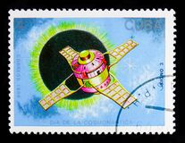 Signo 3, Satellites and Space Probes serie, circa 1988. MOSCOW, RUSSIA - OCTOBER 1, 2017: A stamp printed in Cuba shows Signo 3, Satellites and Space Probes royalty free stock images