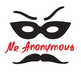 Signor Anonymous - disegno di uno sconosciuto in una maschera Stampa per il manifesto, tazze, maglietta, illustrazione vettoriale
