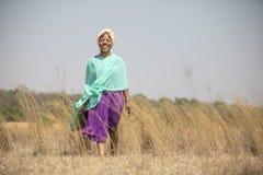 Signora africana che cammina nel campo fotografia stock