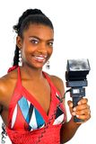 Signora africana con un flash nero Immagini Stock