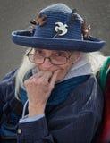 Signora anziana in cappello d'annata Fotografie Stock