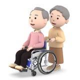 Signora anziana che aiuta il suo marito che si siede su una sedia a rotelle, illustrazione 3D Fotografie Stock Libere da Diritti