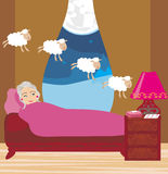 Signora anziana che conta le pecore per cadere addormentato illustrazione di stock