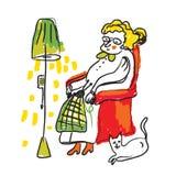 Signora anziana che tricotta schizzo - stanza accogliente Immagine Stock Libera da Diritti