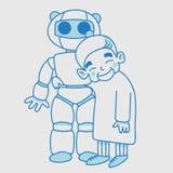Signora anziana con lineare blu del robot Immagini Stock