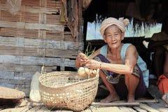 Signora anziana del Laos Immagini Stock Libere da Diritti