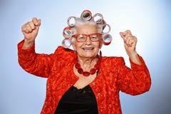 Signora anziana divertente Fotografie Stock Libere da Diritti
